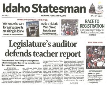 Idaho Statesman article: Legislature's Auditor Defends Teacher Report