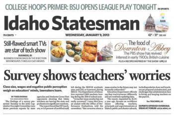 Idaho Statesman article: Survey Shows Teachers' Worries